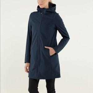 Lululemon city soft shell long jacket navy blue